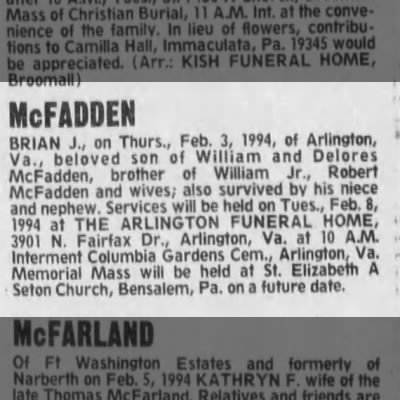 Brian McFadden (Deceased), Bensalem, PA Pennsylvania